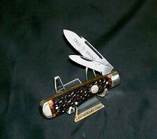 Boker 9695 Tree Brand Knife C-1960's Jigged Delrin Solid German Silver Bolsters