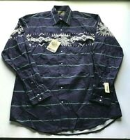 NWT Roper Men's LT Large Tall Western Dark Blue Pearl Snap Long Sleeve Shirt