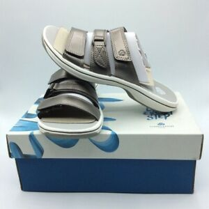 Cloudsteppers By Clarks Womens Brinkley Coast Slide Sandals Metallic 5 M New