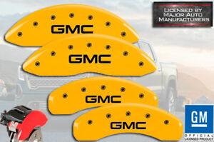 "2001-2007 ""GMC"" Sierra 1500 HD Front + Rear Yellow MGP Brake Disc Caliper Covers"