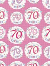 2 Sheets Gift Wrapping Paper HAPPY 70th BIRTHDAY 70 Today Pink Ladies Female