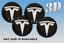 TESLA domed wheel center cap decals emblems stickers 4 pcs ~ ANY SIZE ~ w/black