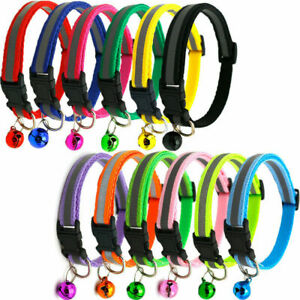 Adjustable Reflective Breakaway Nylon Safety Collar with Bell for Cat Kitten