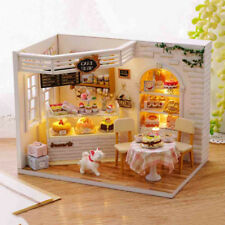 DIY Dollhouse Wooden Cake Shop Furniture Kits LED Light Doll House Xmas Gift