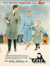 PUBLICITE ADVERTISING  1958   TAXI  impermébles vetements de pluie