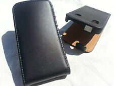 Samsung Galaxy Ace S5830 GENUINE LEATHER flip case BLACK cover skin real