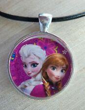 """Princesses ELSA & ANNA"" Disney's FROZEN. Glass Pendant with Leather Necklace"