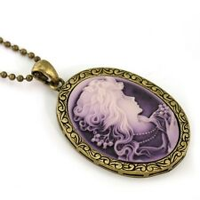 Vintage Antique Style Retro Classic Purple Lavender Cameo Necklace Pendant g1