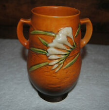"ROSEVILLE FREESIA VASE 1945 121-8"" TWO SIDE HANDLES Orange/Brown PERFECT COND"