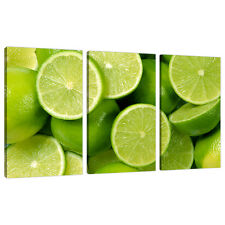 Three Picture Lime Green Canvas Wall Prints Kitchen Dining Room 3113