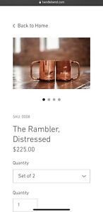 Dennis And Stepp Copper Co Handlebend Distressed Copper Mugs (2)