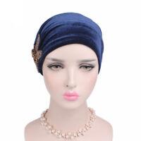 New Muslim Women Velvet Hand Beaded Turban Cap India  Chemo Wrap Head Beanie Hat