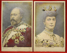 1900's Bas Relief Cameo Rapid Photo Postcards King Edward Queen Alexandra!