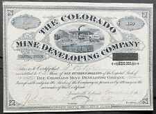 COLORADO MINE DEVELOPING CO. Stock 1880. Leadville Mayor J.F. Humphreys SIG. EF+