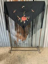 More details for antique vintage black embroidered piano shawl tasselled macrame gypsy tablecloth