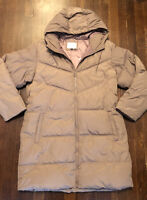 A New Day Women's Size L Belted Puffer Winter Coat - Brown