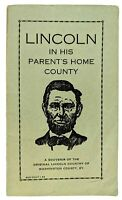 Abraham Lincoln in His Parent's Home County Homestead SOUVENIR Washington KY Vtg