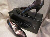 Rampage Brown Crocodile Patent Leather Slip On High Heel Womens Shoes 6.5