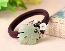 HAND MADE Women Hair rubber band  Flower Green Jade red garnet scrunchies GIFT