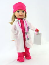 """Hot Pink Doctor Outfit Set Fits Wellie Wishers 14.5"""" American Girl Clothes"""