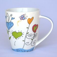 Becher mit Herzen - blau - Tasse - Becher mit Henkel - Kaffeebecher - NEU