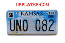 KANSAS REAL AUTHENTIC LICENSE PLATE AUTO NUMBER CAPITOL GRAPHIC CAR TAG KS