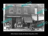 POSTCARD SIZE PHOTO OF MILTON ONTARIO CANADA THE PICKETTS DRUG STORE c1930