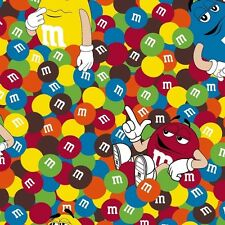 Fabric M&M Candy Pieces Characters on Brown Cotton by the 1/4 yard BIN