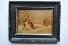 Tableau Miniature XIXème Duel sous la neige peinture avec signature à identifier