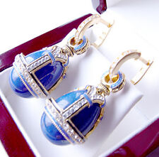 SALE !  EARRINGS made of STERLING SILVER 925 with GENUINE LAPIS and ENAMEL