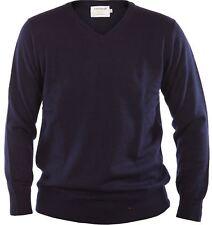 Gents Merino Wool Sweater V-Neck Jumper Navy Blue X-Large