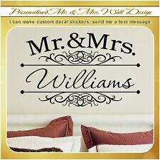 Custom Mr and Mrs Married Wedding Couple Love Wall Vinyl Decor Sticker Decal 104