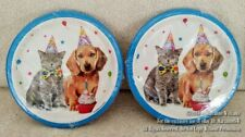 "New 24 Paper 7"" Cake Plates Happy Birthday Celebration Party Dog & Cat Cupcake"
