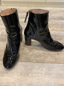 Stuart Weitzman Black Patent Leather Heeled Ankle Boots 9.5M