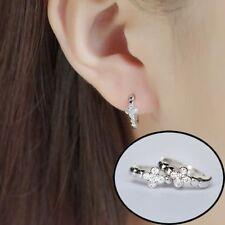 1Pair Zircon Ear Stud Joyería Cruz De Suerte Pendientes De Aro Redondo