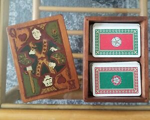 Vintage Tudor Rose Piatnik Playing Cards No. 2137 in Wood Box Double Deck