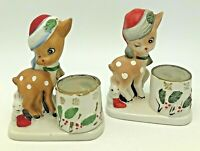 Little Reindeer Votive Candle Holder Porcelain Fawn Deer Rabbit Pair JASCO 1978