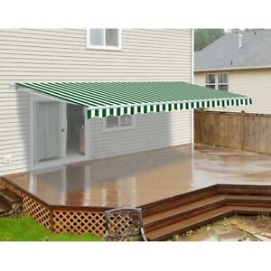 ALEKO Motorized Retractable Patio Awning 16 X 10 Ft Green and White Stripe