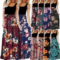 2019 Womens Ladies Fashion Sleeveless Dress O-neck Print Maxi Tank Long Dress