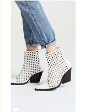 Last one! Jeffrey Campbell white cutout Waven woven ankle boots sz 8.5 $245