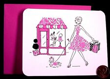 Papyrus Sweet Girl In Pink Walking Dog Shoe Purse Store Blank Note Card  NEW