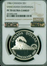 1986 CANADA SILVER DOLLAR VANCOUVER NGC MAC PF70 UHCam MAC FINEST SPOTLESS *