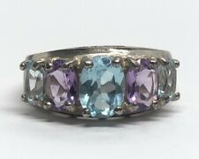 Vintage Sterling Silver Ring 925 Size 9 Amethyst Topaz Multi Stone Signed F