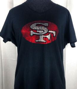 Women's San Francisco 49ers Rhinestone Football V-neck T-Shirt Tee Bling Ladies