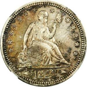 1853 AU50 NGC Arrow & rays 25c Seated liberty