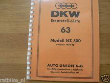 D0059 DKW---ERSATZTEIL-LISTE  63---NZ 500-MODELYEAR ABOUT--1939/40-