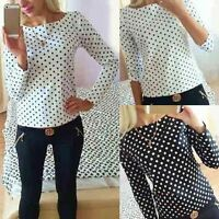 Womens Ladies Loose Chiffon Dot Tops Long Sleeve T-Shirt Casual Blouse New