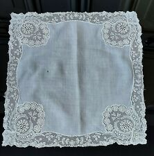More details for antique 19th century 1800s small cotton needle lace edged handkerchief