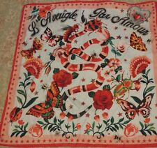Gucci Pink Stars L'Aveugle Par amour Floral Scarf Silk Snake Floral Butterfly