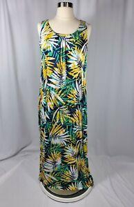 Women's Maxi Sun Dress Size Large Palm Print Yellow And Blue Beach Vacation